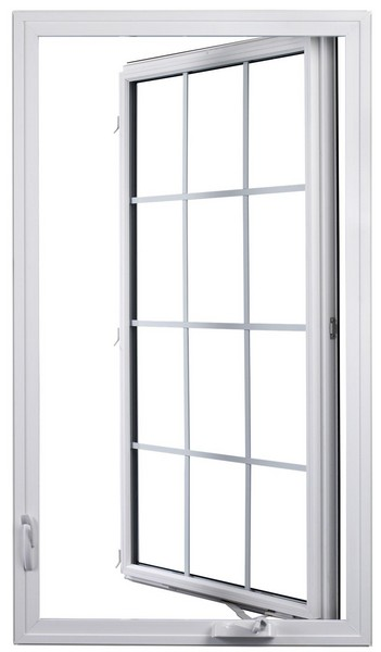 Interior View (open - hinge on right) | White | Colonial Glass Dividers | Nested Crank Handle